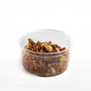Quinoa rouge, Houmous à la carotte, Amandes